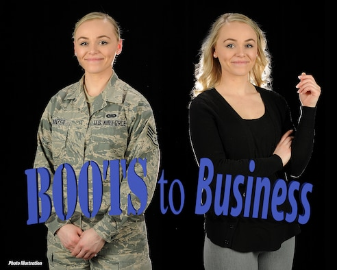 Staff Sgt. Kayla M. McWalter, a production recruiter assigned to the 157th Air Refueling Wing, poses for a portrait on April 10, 2018 at Pease Air National Guard Base, N.H. The Boots to Business workshop is scheduled to take place from April 17-18, 2018. (N.H. Air National Guard photo illustration by Staff Sgt. Kayla White)