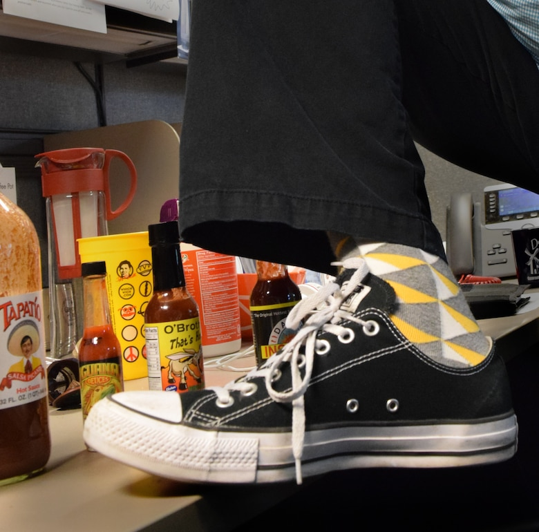 Matt Valentine, an architect with the U.S. Army Corps of Engineers Sacramento District, loves his family, his job, hot sauces and zippy footwear.