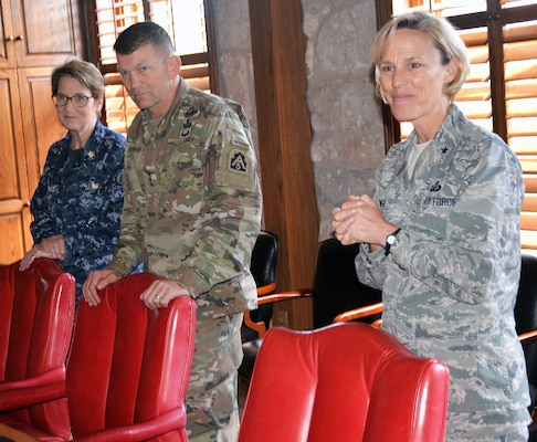 (From left) Rear Adm. Rebecca McCormick-Boyle, commander, Navy Medicine Education, Training and Logistics Command; Lt. Gen. Jeffrey Buchanan, commanding general, U.S. Army North (Fifth Army); and Brig. Gen. Heather Pringle, commander, 502nd Air Base Wing and Joint Base San Antonio joined together April 12 with students, local educators and representatives from the Fort Sam Houston and Lackland Independent School Districts to recognize and honor the commitment, contributions and sacrifices children and youth make to the nation.