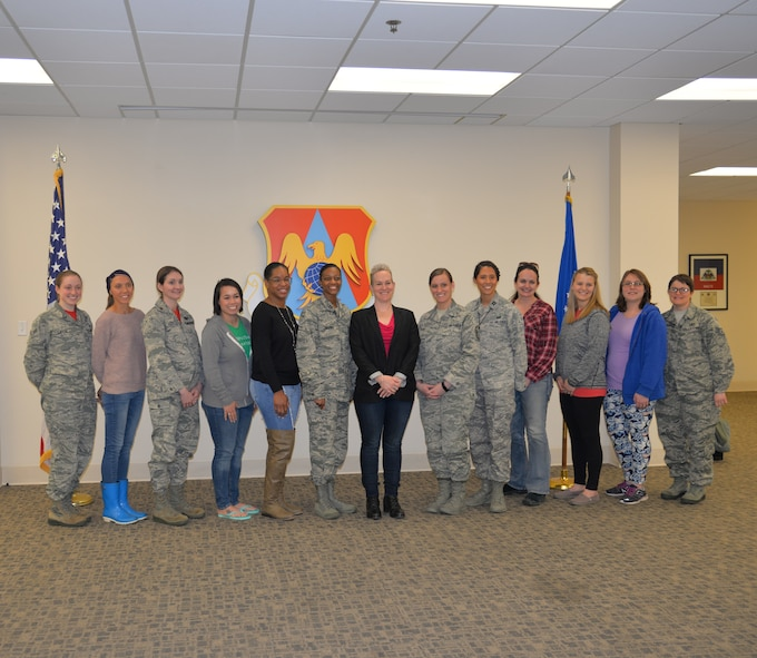 Award winning author, Robyn Roche-Paull (center), presents Breastfeeding in the Military on April 6th, 2018 at Scott Air Force Base Illinois.