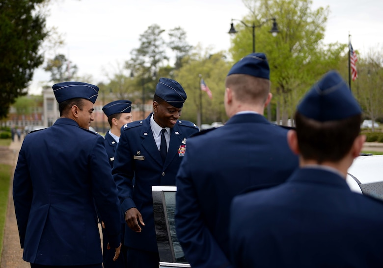 Second lieutenants greet Col. Brandon Parker, 7th Bomb Wing Commander, before Specialized Undergraduate Pilot Training Class 18-07's graduation ceremony April 6, 2018, on Columbus Air Force Base, Mississippi. Parker spoke on many topics and acknowledged his pride for the newest graduates joining the elite military aviators in the world's greatest Air Force. (U.S. Air Force photo by Airman 1st Class Keith Holcomb)