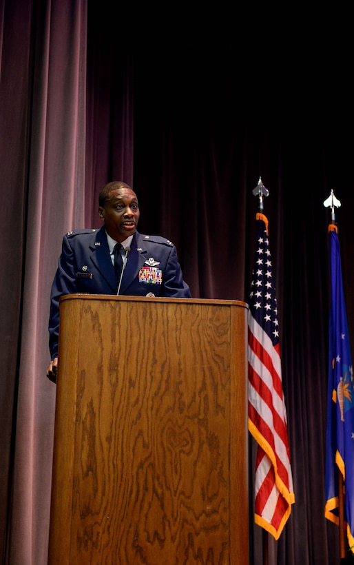 Col. Brandon Parker, 7th Bomb Wing commander at Dyess Air Force Base, Texas, speaks during Specialized Undergraduate Pilot Training Class 18-07's graduation ceremony April 6, 2018, on Columbus Air Force Base, Mississippi. His speech focused on the symbolism of the wings all aircrew wear. He charged the students with three tasks throughout their Air force careers: educate, innovate and motivate. (U.S. Air Force photo by Airman 1st Class Keith Holcomb)