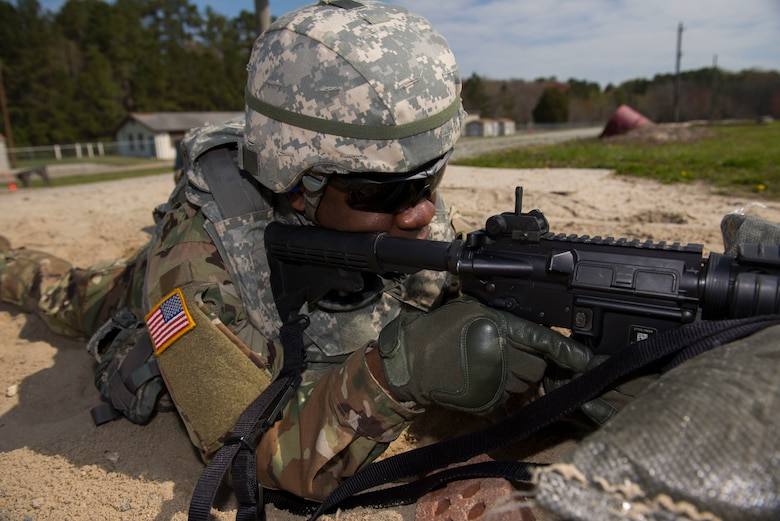 U.S. Army Sgt. Tiphine T. Tobo, Headquarters and Headquarters Detachment 10th Battalion, 7th Transportations Brigade (Expeditionary) battalion school NCO in charge, fires an M-16 rifle at Joint Base Langley-Eustis, Virginia., April 11, 2018. (U.S. Air Force photo by Airman 1st Class Monica Roybal)