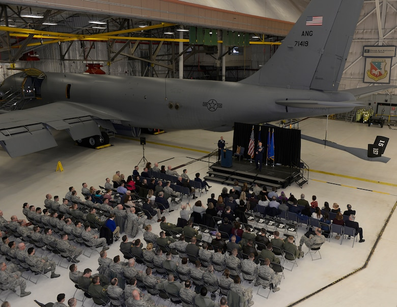 Col. James P. Ryan, retired 157th Air Refueling Wing commander, speaks during his retirement ceremony on April 07, 2018 at Pease Air National Guard Base, N.H. Ryan retired after more than 30 years of service. (N.H. Air National Guard photo by Airman 1st Class Victoria Nelson)