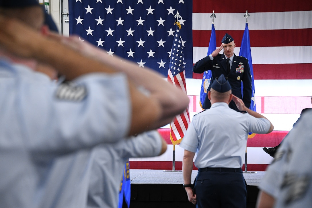 Col. Jon A. Eberlan, 75th Air Base Wing commander, gives his first salute to Airmen in the wing during a change of command ceremony April 13, 2018, at Hill Air Force Base, Utah. (U.S. Air Force photo by R. Nial Bradshaw)