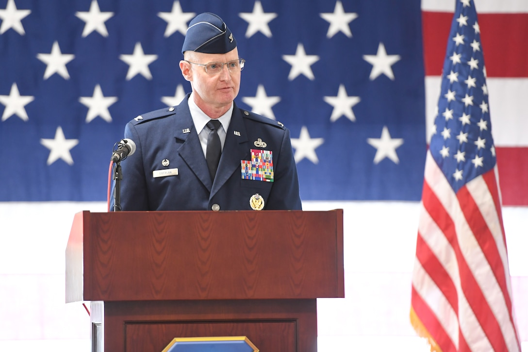 Col. Jon A. Eberlan, 75th Air Base Wing commander, provides his first remarks after assuming command of the wing at a change of command ceremony April 13, 2018, at Hill Air Force Base, Utah. (U.S. Air Force photo by Cynthia Griggs)