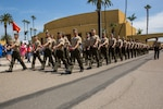 Marines of Charlie Company, 1st Recruit Training Battalion, march in formation during liberty call at Marine Corps Recruit Depot San Diego.
