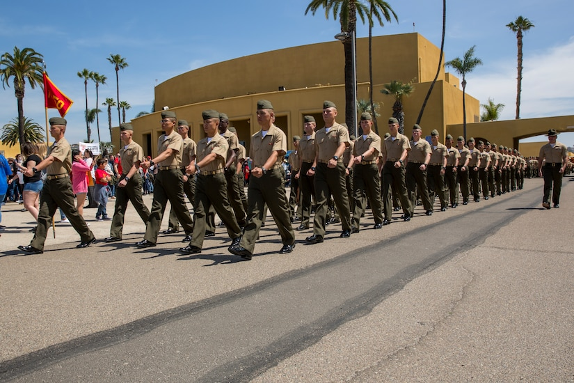 marines of charlie company 1st recruit training battalion march in formation during liberty call the us