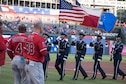 In celebration of Air Force Reserve's 70th Birthday, the Dyess Air Force Base Honor Guard presented the colors at the Texas Rangers game against the Los Angeles Angels.
