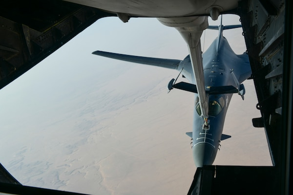 An Air Force B-1B Lancer bomber separates from the boom pod after receiving fuel from a KC-10 Extender following its participation in a multinational strike against chemical weapons targets in Syria, April 14, 2018. Two B-1Bs operating from Al Udeid Air Base, Qatar, released 19 Joint Air-to-Surface Standoff Missile-Extended Range weapons during the operation. Air Force photo by Tech. Sgt. Lynette Hoke