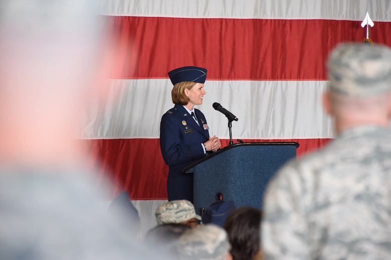 "Col. Regina ""Torch"" Sabric, 419th Fighter Wing commander, speaks to a crowd of Citizen Airmen, base leaders, and community leaders during a change of command ceremony April 14, 2018, at Hill Air Force Base, Utah."