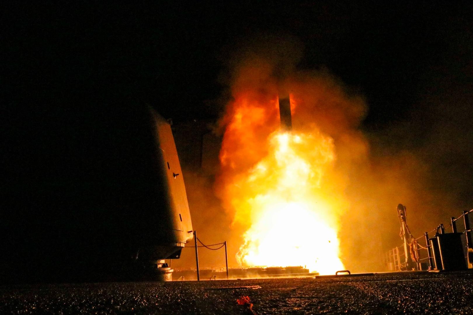 USS Monterey fires Tomahawk land attack missile in U.S. Fifth Fleet area of operations, April 2018 (U.S. Navy/Matthew Daniels)