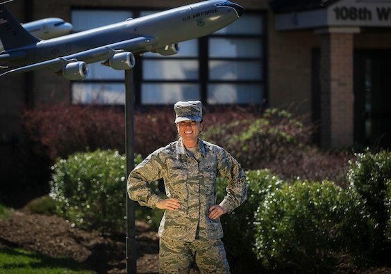 New Jersey Air National Guard Staff Sgt. Annamae Young stands for a portrait on Joint Base McGuire-Dix-Lakehurst, N.J., April 14, 2018. Young, a recruiter with the 108th Wing, recently joined the Century Club after recruiting her 100th Airman.