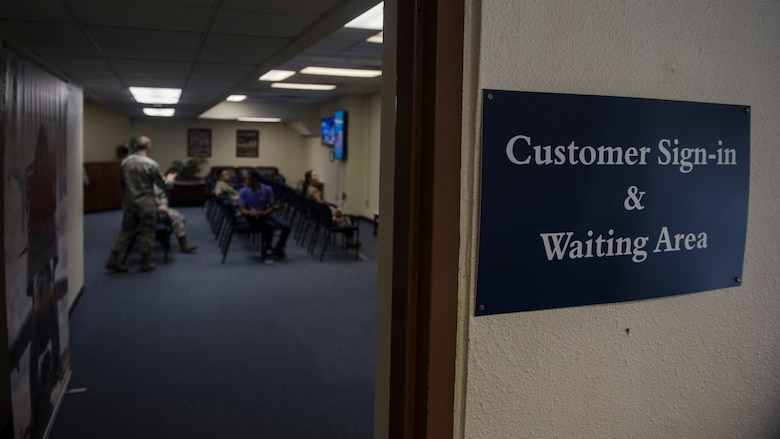 Customers wait in the 18th Force Support Squadron Military Personnel Section waiting area