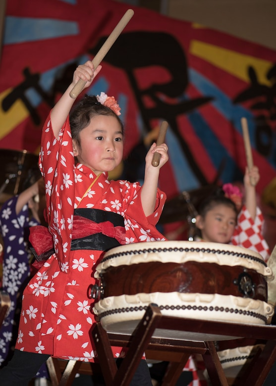 A Makibano kid drummer performs during the 31st Annual Japan Day at Misawa Air Base, Japan, April 14, 2018. The event featured many performers including Okamisawa sacred dancers, Nanbu local Shamisen music and Towada Suijin Thunder Drum musicians. Showcasing Japanese music was one of the many events performed at Japan Day which highlighted the cultures techniques and traditions. (U.S. Air Force photo by Airman 1st Class Collette Brooks)