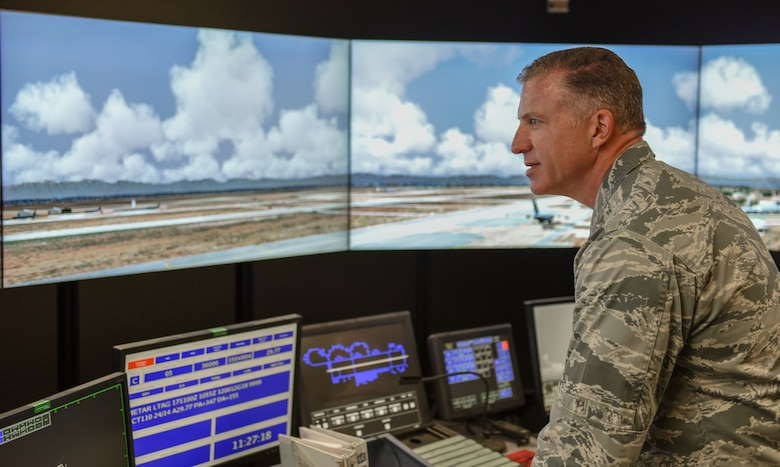 Col. David Eaglin, 39 ABW commander operates flight simulator