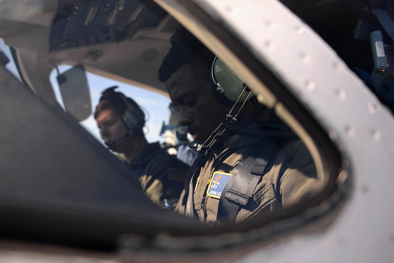 Maj. Charles Staten, 48th Flying Training Squadron instructor pilot, and 2nd. Lt. John Lewis Elliot, 14th Student Squadron student pilot, prepares for a flight April 10, 2018, on Columbus Air Force Base, Mississippi. All T-1 student sorties are flown with an instructor pilot and can vary in length. (U.S. Air Force photo by Airman 1st Class Keith Holcomb)