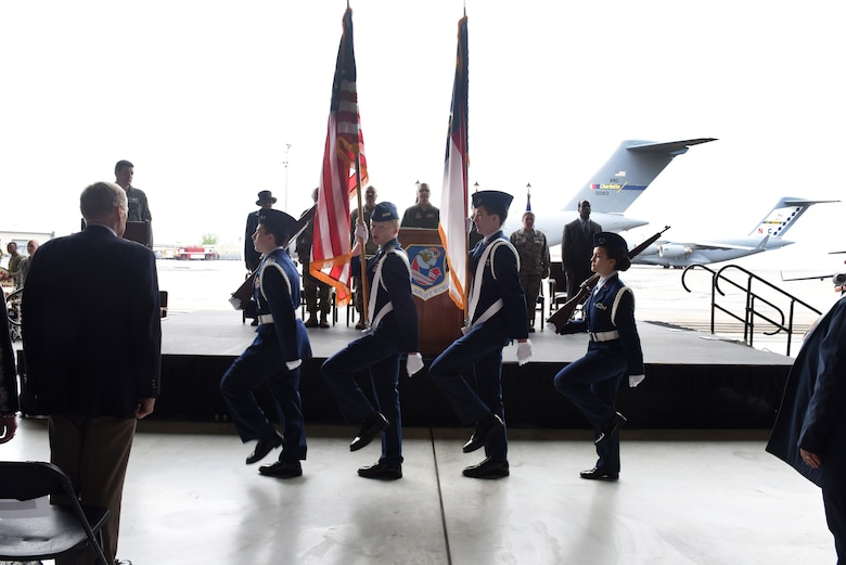 Members of the Charlotte Civil Air Patrol honor guard present the colors during the C-17 Acceptance Ceremony held at the North Carolina Air National Guard Base, Charlotte Douglas International Airport, April 7, 2018. The 145th Airlift Wing was selected to transition from the C-130 Hercules aircraft to the C-17 Globemaster III aircraft 18 months ago, and the airframe will carry the units mission into the future. The first two aircraft of eight to come to the 145th Airlift Wing were previously assigned to active duty wings; Joint Base Charleston, S.C. and Joint Base Lewis-McChord, Wash.