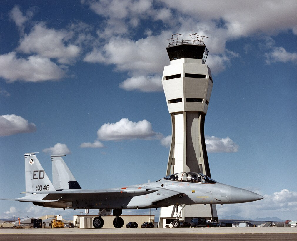 #OTD 20 Apr 1987 at Edwards - The new control tower was officially opened with the takeoff in an F-15.  The new facility, stressed to withstand an 8.0 earthquake as well as 120+ mph winds, replaced the ten-story red and white structure that had been a landmark since 1956.  Today, the cab of the old tower is at the Century Circle exhibit outside the West Gate entry point.