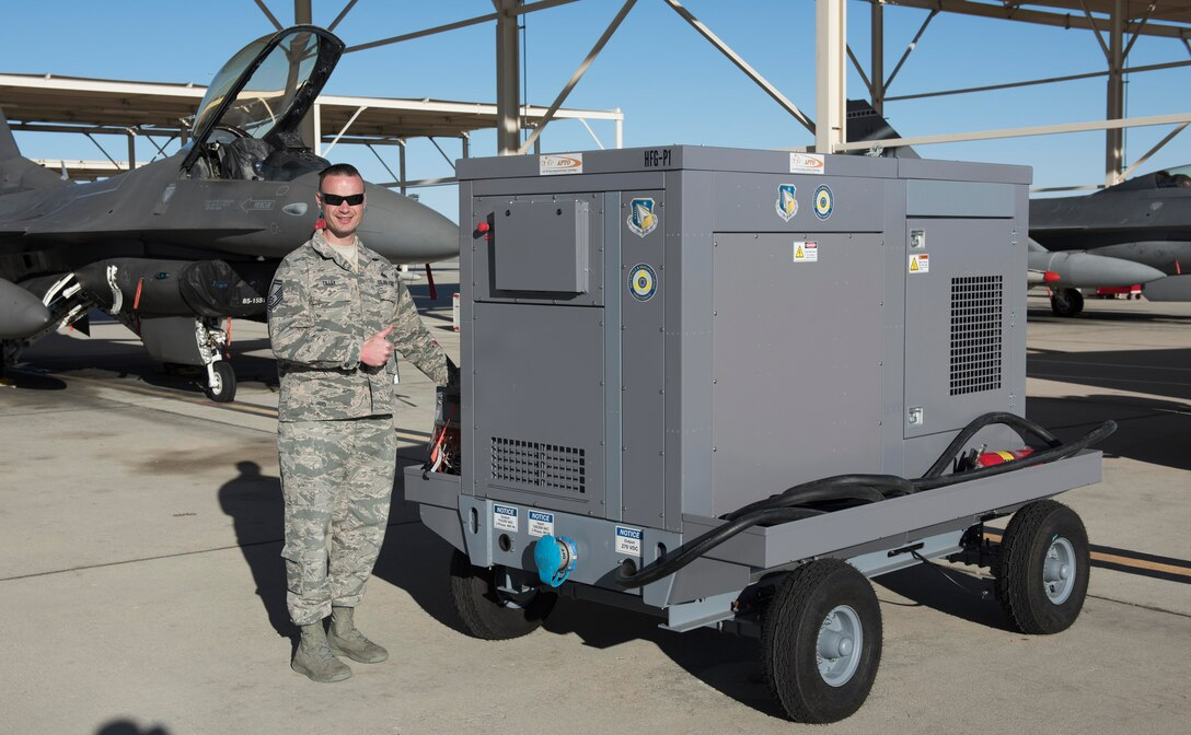 Senior Master Sgt. Jason Tilley, Air Force's lead for its Aerospace Ground Support Equipment Working Group, said the demonstrations at Edwards show hybrid generators can operate on the flightline and believes the Air Force can use more electric and hybrid-electric systems. (U.S. Air Force photo by Brad White)
