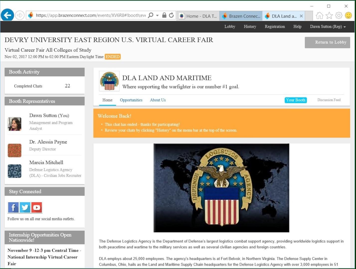DeVry Virtual Career Fair booth chat screen.