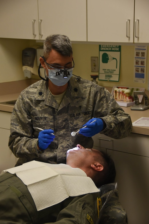 Lt. Col. (Dr.) Simon Nguyen, the Chief of Dental Services with the178th Medical Group, teaches Airmen about how to achieve complete oral health at Springfield-Beckley Air Guard Station in Ohio, April 7, 2018. Ngyuen volunteered some of his personal time to complete dental exams on Airmen from the 123rd Air Control Squadron, Blue Ash, Ohio.