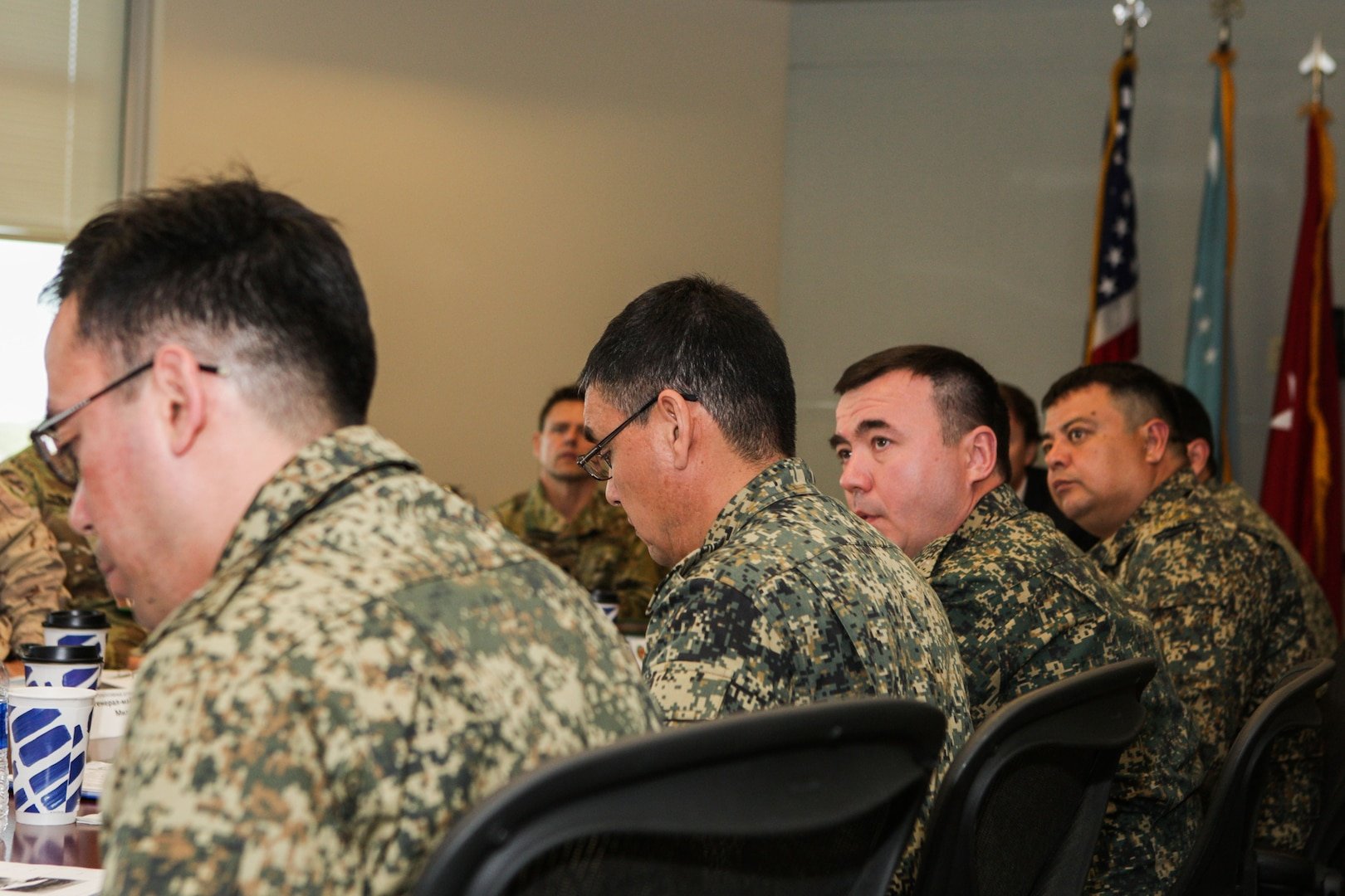 MacDill AFB, Fla. (April 12, 2018) – Members of an Uzbekistan military delegation meet with U.S. military officers at U.S. Central Command headquarters to discuss military-to-military activities. The annual talks are intended to deepen U.S. - Uzbekistan military cooperation, and advance mutual security and defense interests. (Photo by Tom Gagnier)