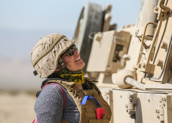 Darleen Gomez-Diaz, wife of Cpl. Enrique Diaz, gunner, Alpha Company, 1st Tank Battalion, takes part in the unit's Jane Wayne Spouse Appreciation Day aboard the Marine Corps Air Ground Combat Center, Twentynine Palms, Calif., April 3, 2018. The purpose of the event is to build resiliency in spiritual well being, the will to fight and a strong home life for the 1st Tanks Marines and their families. (U.S. Marine Corps photo by Lance Cpl. Rachel K. Porter)
