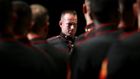U.S. Marine Corps Master Sgt. Gary L. Robison, a conductor with the 1st Marine Division Band, leads Marines during the 1st Marine Division Band's 10th annual concert at the California Center for the Arts, Escondido, Calif., March 29, 2018.