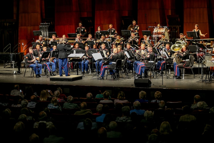 "U.S. Marines with the 1st Marine Division Band, preform ""Dance of the Jesters"" during the 1st Marine Division Band's 10th annual concert at the California Center for the Arts, Escondido, Calif., March 29, 2018."