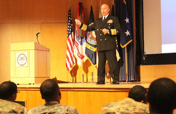 Navy Admiral Kurt Tidd speaks before cadets at the U.S. Military Academy.