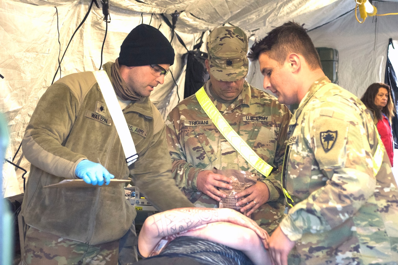 Soldiers examine mock casualties as part of the Vibrant Response training exercise at Muscatatuck Urban Training Center, Ind.