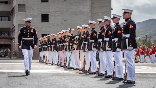 U.S. Marines with the Silent Drill Platoon with the Battle Color Detachment, perform during the Battle Color ceremony at Marine Corps Base Camp Pendleton, Calif., March 15, 2018.