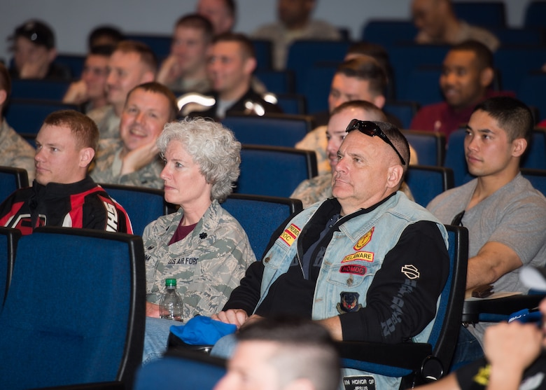 Attendees at the Annual Pre-Season Brief for Motorcycle Safety Day April 13, 2018, at Dover Air Force Base, Del. The annual event is aimed at preventing future mishaps through the dissemination of motorcycle safety knowledge and a spirit of mentorship. (U.S. Air Force photo by Mauricio Campino)