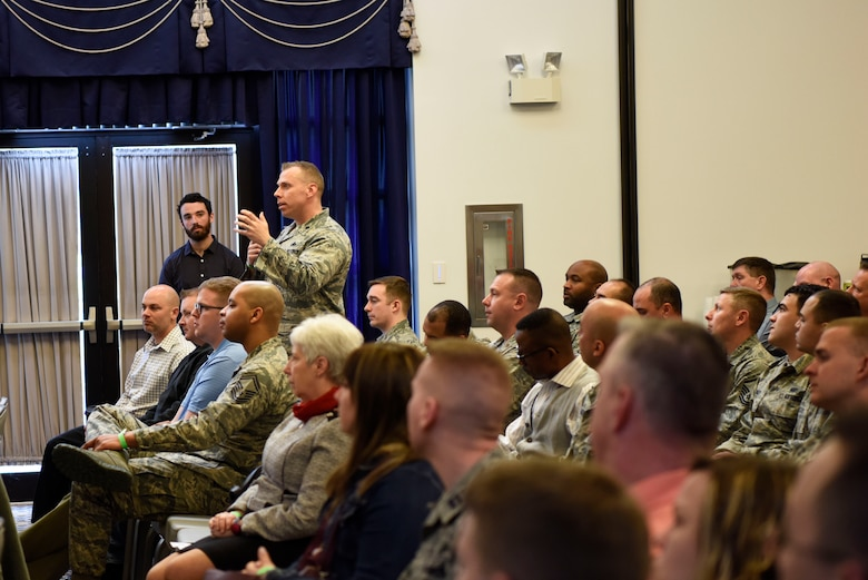 Team Dover members participate in the second annual Hiring Our Heroes Military Transition Summit April 12, 2018, at Dover Air Force Base, Del. The event was sponsored by the U.S. Chamber of Commerce and Hiring Our Heroes. (U.S. Air Force photo by Airman 1st Class Zoe M. Wockenfuss)