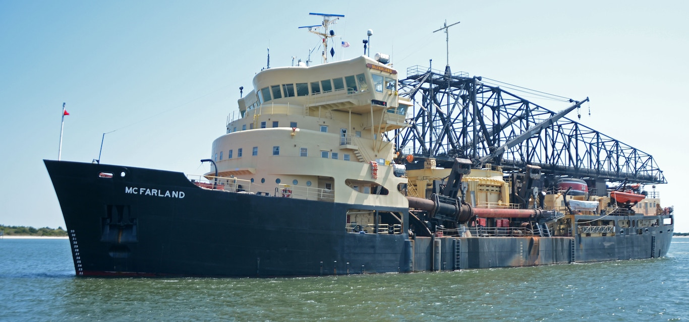 The Dredge McFarland is one of four ocean-going hopper dredges owned and operated by the U.S. Army Corps of Engineers. She operates in the Delaware River and is available for urgent dredging missions around the country.