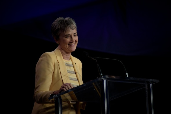 Secretary of the Air Force Heather Wilson delivers the key note address at the 34th Annual Space Symposium April 17, 2018, in Colorado Springs, Colo. During her speech Wilson announced new ways in which the Air Force will be more lethal, resilient and agile in space. (U.S. Air Force photo by Senior Airman Dennis J. Hoffman)
