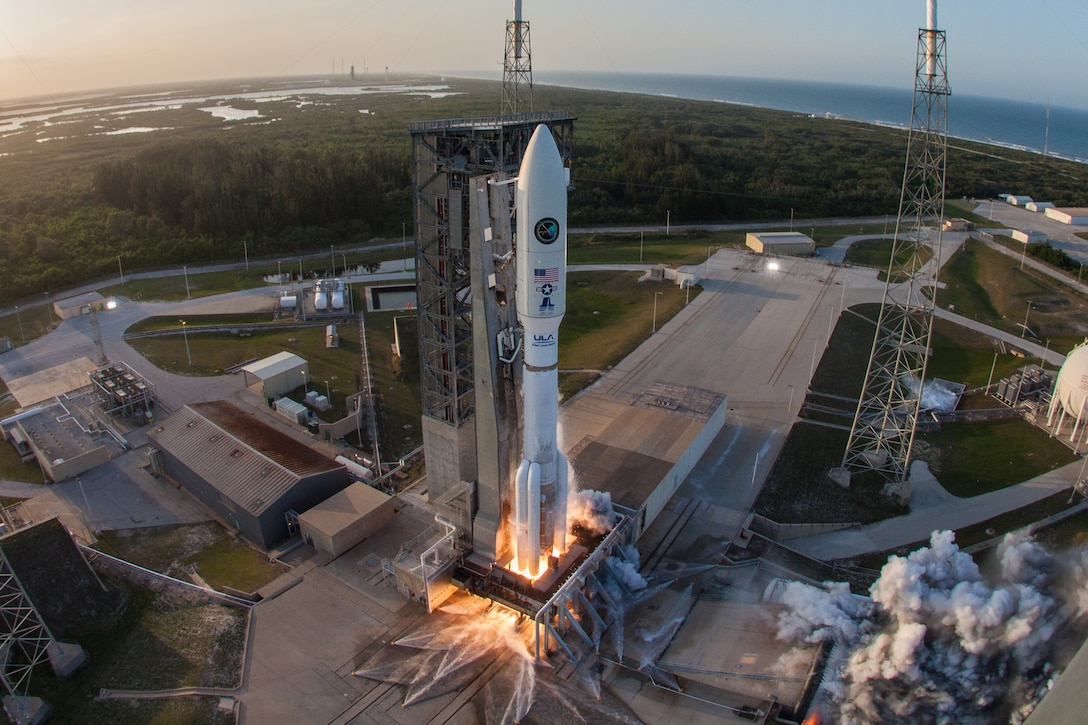 A United Launch Alliance (ULA) Atlas V rocket carrying the AFSPC-11 mission for the U.S. Air Force lifts off from Space Launch Complex-41 at Cape Canaveral Air Force Station, Florida, on April 14, 2018. AFSPC-11 is a multi-manifested mission. The forward spacecraft is referred to as CBAS (Continuous Broadcast Augmenting SATCOM) and the aft spacecraft is EAGLE (ESPA Augmented GEO Laboratory Experiment). (Photo courtesy of United Launch Alliance)