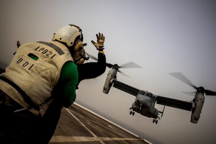 MEDITERRANEAN SEA (April 15, 2018) An MV-22 Osprey assigned to Marine Medium Tiltrotor Squadron (VMM) 263, Special-Purpose Marine Air-Ground Task Force-Crisis Response-Africa, lands aboard the San Antonio-class amphibious transport dock USS New York (LPD 21) during routine flight deck operations April 15, 2018. The flight deck operations certify the Osprey pilots to land on an LPD in open ocean operations and work with Navy landing support while deployed to U.S. 6th Fleet area of operations. U.S. 6th Fleet, headquartered in Naples, Italy, conducts the full spectrum of joint and naval operations, often in concert with allied and interagency partners, in order to advance U.S. national interests and security and stability in Europe and Africa.