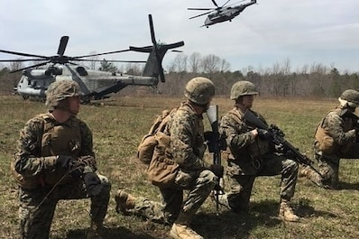 Marines with Company A., 4th Combat Engineer Battalion, 4th Marine Division, Marine Forces Reserve, conduct a helicopter borne assault via MV-22 and CH-53 platforms during platoon attacks as part of a Mission Rehearsal Exercise aboard U.S. Army Fort A.P. Hill, Va., April 6, 2018. Along with its combat engineer battalion, combat logistics battalion, assault amphibious vehicle and artillery attachments, 1st Battalion., 25th Marine Regiment, conducted a 10-drill MRX in preparation for Integrated Training Exercise 4-18. This MRX was a stepping stone in a force generation plan to ensure that once 1st Bn., 25th Marines, 1st Bn., 23rd Marines, and other ready bench units complete ITX 4-18, they will be ready to rapidly respond to a national security threat with maximum capability. (Courtesy photos provided by 1st Bn., 25th Marines)