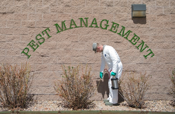 As a pest management Airman, Ewell treats facilities for multiple possible insect infestations, as well as helps control the snake, rabbit, prairie dog and bird population on base. (U.S. Air Force graphic by Airman 1st Class Holden S. Faul)