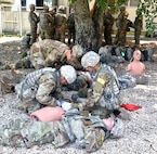 232nd Medical Battalion Soldiers at the 68W Advanced Individual Training Program for the Combat Medic Program conduct training at Joint Base San Antonio-Fort Sam Houston April 17.