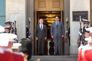 Defense Secretary James N. Mattis stands with Qatari Defense Minister Dr. Khalid bin Mohammed Al-Attiyah outside of the Pentagon.