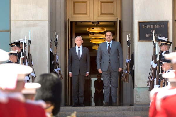 Defense Secretary James N. Mattis stands with Qatari Defense Minister Dr. Khalid bin Mohammed Al-Attiyah outside of the Pentagon.