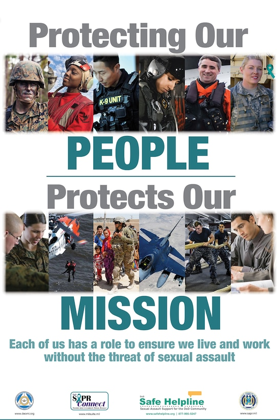 The 2018 Sexual Assault Awareness and Prevention Month theme is Protecting Our People Protects Our Mission. Every member of defense organizations can encourage behaviors that foster a climate of dignity and respect, and in doing so, help ensure our readiness to complete the mission. (Graphic by the Defense Equal Opportunity Management Institute)