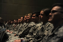 """Class of 2018 cadets listen to Air Force Chief of Staff Gen. David L. Goldfein during the """"Firstie Call"""" at the Air Force Academy, Colo., April 18, 2018. Goldfein talked about the importance of taking care of Airmen and their families, which will be one of the cadets' future responsibilities as they become officers and leaders in the Air Force. (U.S. Air Force photo/Tech. Sgt. Julius Delos Reyes)"""