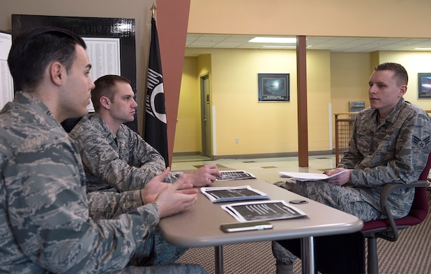 Whiteman Air Force Base, Mo., hosted an enlisted commissioning fair at Whiteman AFB, April 11, 2018. Airmen from different career fields around Whiteman attended the enlisted commissioning fair to learn about different commissioning options like OTS, the Air Force Academy, medical commissioning programs and more.