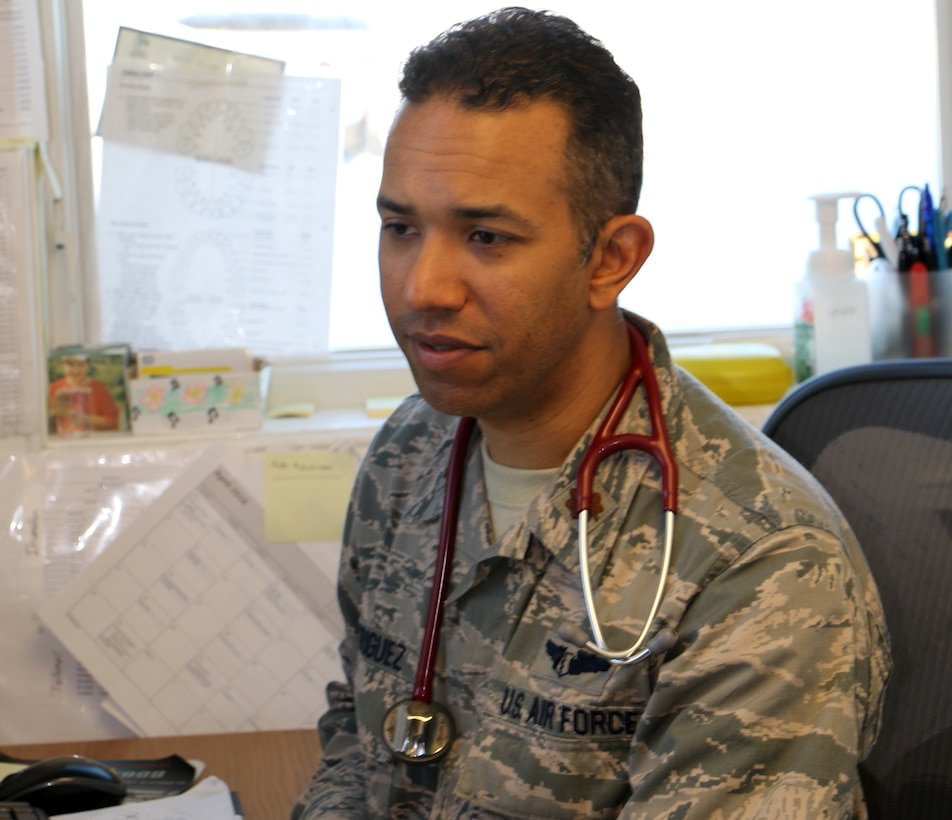 Major Vashun Rodriguez, a flight surgeon assigned to the 927th Aeromedical Staging Squadron, MacDill Air Force Base, Florida, is one of several Air Force Reserve personnel supporting Arctic Care 2018, an Innovative Readiness Training exercise. Arctic Care 2018 was comprised of a joint and multi-national force providing medical, dental, optometry and veterinary care for underserved villages in the Maniillaq Service Area April 16-24. (U.S. Air Force photo by Maj. Joseph Simms)