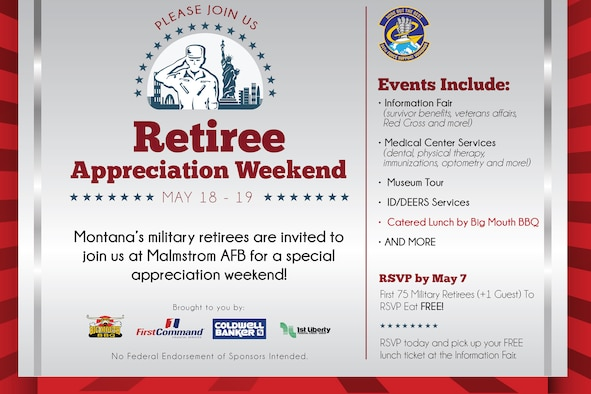 Retirees and their guests should RSVP to Victoria Plank, 341st Force Support Squadron Casualty Assistance representative, by phone at 731-2911.