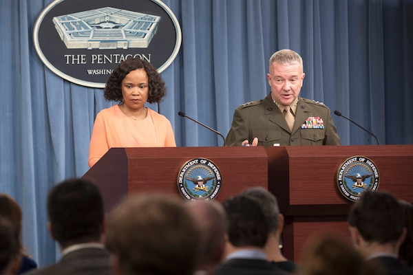Chief Pentagon spokesperson Dana W. White and Marine Corps Lt. Gen. Kenneth F. McKenzie Jr., director of the Joint Staff, brief reporters at the Pentagon, April 19, 2018. DoD photo by Air Force Tech. Sgt. Vernon Young Jr.